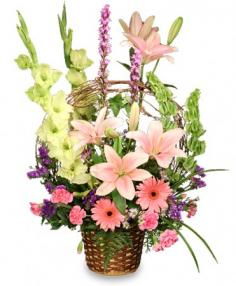BASKET OF MEMORIES Floral Arrangement Best Seller in Campbell, CA | ROSIES & POSIES