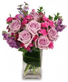 LAVENDER LUXURY Flower Arrangement in Detroit, MI | RED ROSE FLORIST