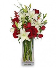 ALL IS MERRY & BRIGHT Holiday Bouquet in Largo, FL | ROSE GARDEN FLOWERS & GIFTS INC.