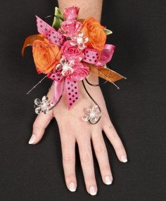 HOT PINK & ORANGE Prom Corsage in Clarksburg, MD | GENE'S FLORIST & GIFT BASKETS