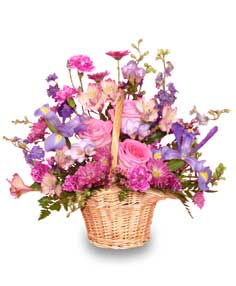 MAUVE-LOUS BOUQUET Flower Basket in Bowerston, OH | LADY OF THE LAKE FLORAL & GIFTS