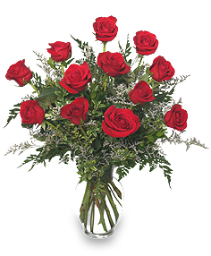 CLASSIC DOZEN ROSES Red Rose Arrangement in Abbotsford, BC | BUCKETS FRESH FLOWER MARKET