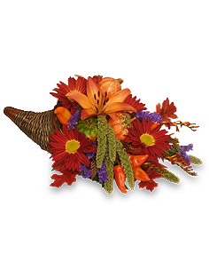 BOUNTIFUL CORNUCOPIA Thanksgiving Bouquet in Michigan City, IN | WRIGHT'S FLOWERS AND GIFTS INC.