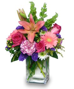 SPRINGTIME REWARD Vase of Flowers in Red Deer, AB | SOMETHING COUNTRY FLOWERS & GIFTS