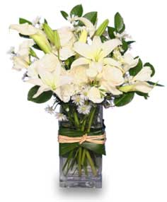 FRESH SNOWFALL Vase of Flowers in Deer Park, TX | FLOWER COTTAGE OF DEER PARK
