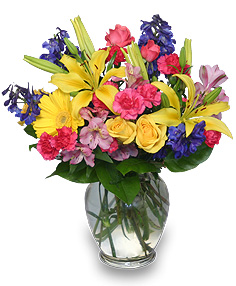 RAINBOW OF BLOOMS Vase of Flowers in Pembroke, MA | CANDY JAR AND DESIGNS IN BLOOM