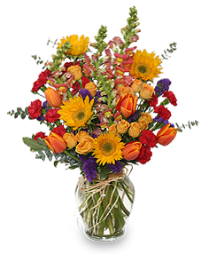 FALL TREASURES Flower Arrangement in Burton, MI | BENTLEY FLORIST INC.