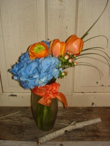 Beautiful Blue & Orange Vased Fresh Arrangement in Mcfarland, WI | THE PETAL PATCH