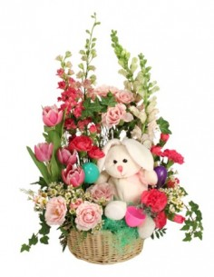 BUNNY BLOOMS BASKET Arrangement in Huntsville, AL | GATEHOUSE FLOWERS
