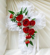 Casket Cross With Red Roses