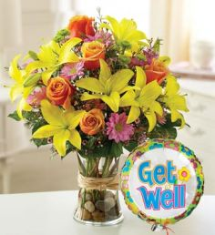 get well flowers balloon
