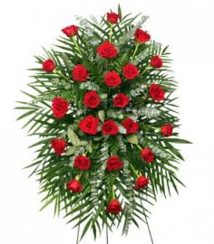RED ROSES STANDING SPRAY of Funeral Flowers in Huntsville, TX | CRAZY DAISY