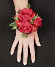 PUTTING ON THE RITZ RED Prom Corsage in Hillsboro, OR | FLOWERS BY BURKHARDT'S