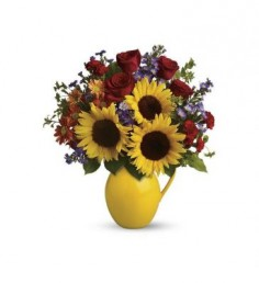Sunny Day Pitcher of Joy  Fall Flower Arrangement (TFL01-1A) in Fairbanks, AK | A BLOOMING ROSE FLORAL & GIFT